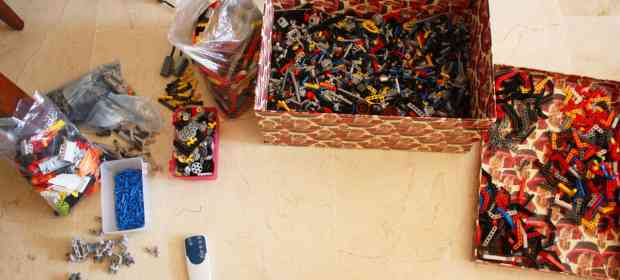 Sorting a box full of LEGO Technic bricks