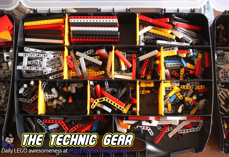 Sorted LEGO bricks in plastic organizer